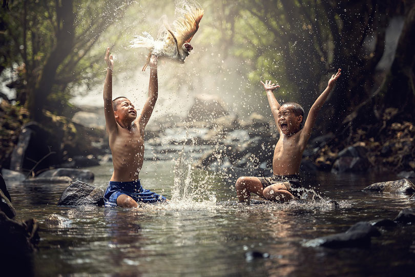 Két gyerek kerget egy madarat a patakban