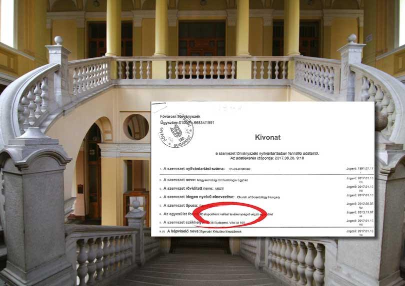 A fővárosi törvényszék hivatalos kivonata a Szcientológia egyház egyházi státuszáról